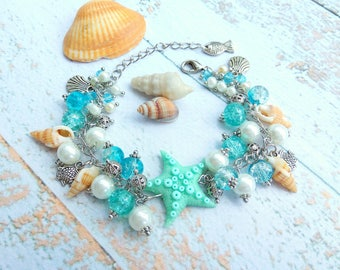 Charm bracelet gift for her gifts Summer bracelet Beach bracelet Mermaid jewelry Seaside jewelry Summertime Sea shell jewelry Starfish Ocean