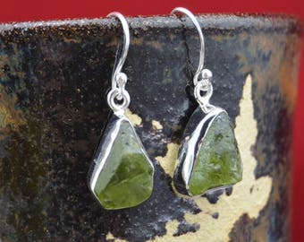 Sterling Silver and raw natural green peridot earrings
