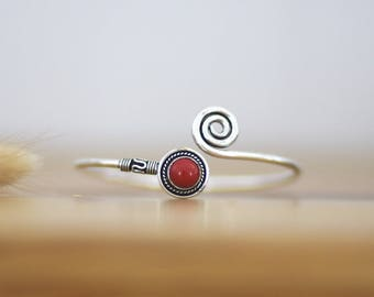beautiful silver plated bracelet bangle cuff coral spirale stone gemstone pierre semi precieuse