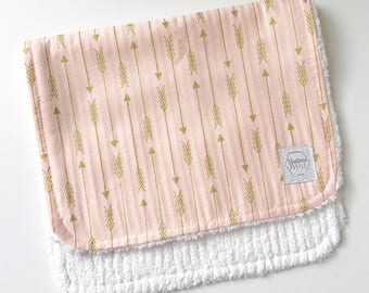 Mix & Match baby burp cloths- golden arrow - Burp Rag - baby spit up - baby gift - baby shower - newborn girl - pink and gold baby