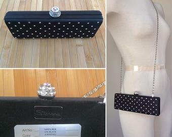 Black and crystal rhinestone bedazzled evening clutch, stephanie evening clutch, bridal clutch, special occasion clutch, bridal purse