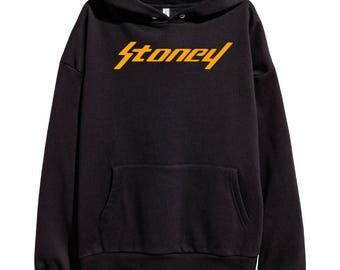 Post Malone Stoney Orange Logo Hoodie Hip Hop Rap Classic Hooded Sweatshirt Hip Hop Go Flex Rockstar White Iverson Deja Vu New