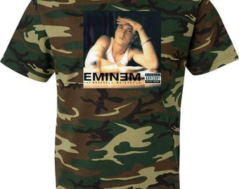 Eminem The Marshall Mathers LP COVER 3 Camouflage T Shirt Hip Hop Rap Short Sleeve Tee Camo