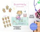 Pin the crown on the princess game, PRINTABLE Fairytale games, Princess party games, Princess birthday games, Princess poster Princess crown