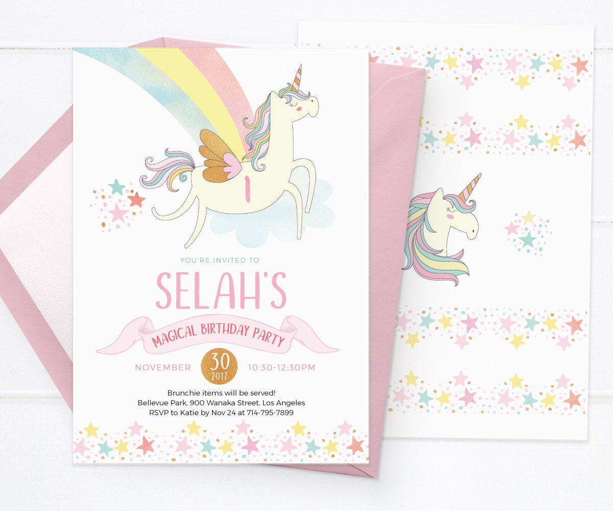 PRINTABLE Unicorn invites, Unicorn invitations, Unicorn birthday ...