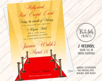 Red Carpet Invitation, Hollywood Sweet 16 Invite, Red Carpet Party Invitation, Hollywood Printable, Red Carpet Birthday Party, Red & Gold