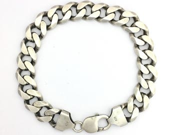 Chunky Vintage Sterling Silver Curb Chain Bracelet