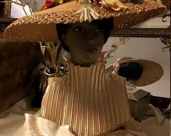 Straw Hat with Open Crown