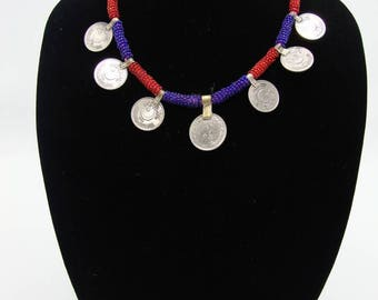 Red & Blue Coin Necklace