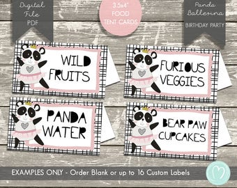 FOOD tent cards/place cards/Panda food labels/PANDA girl birthday party/DIY party decoration/Printable food labels/Pink Birthday Party