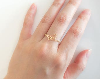 sterling silver  butterfly ring, Butterfly Ring, Dainty Cute Ring,   stacking rings , Simple Ring, Ring for daughter , Girl gift ring