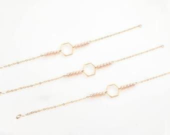 Hexagon bracelet, AAA Pearl Bracelet , Gold filled bracelet, Geometric bracelet, Minimalist bracelet, Layering jewelry, friendship bracelet,