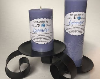 Lavender Scented Soy Wax Pillar Candle