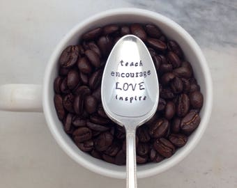Handstamped vintage coffee spoon, gift for teacher