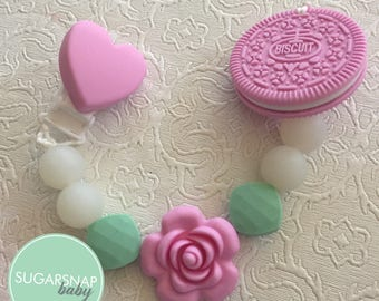 Pink Oreo silicone teether - bpa free - chew toy for baby - silicone cookie - silicone beads - baby gift - newborn gift