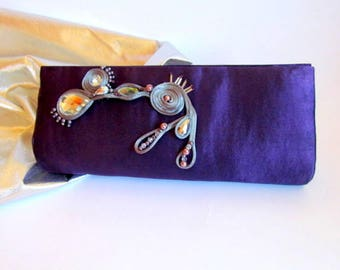 Elegant Deep Purple Classy Clutch, Unique Cadbury Purple Bag, Bridesmaid Gifts, Cocktail Purse, Prom Purse, Special Mother's Day Gift Ideas
