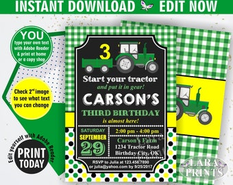 INSTANT DOWNLOAD / edit yourself now / Birthday Invitation / Tractor / Invite / Tractor Birthday / Green Yellow Farm Boy / Chalkboard / BDT3