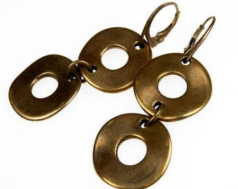 Firuze c545 earrings, earrings, circles, gold color, modern, boho