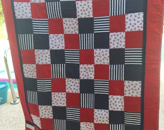 Red white and blue lap quilt