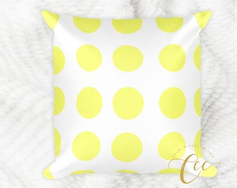 White Yellow Polka Dot Pattern Pillow, Modern Decorative Pillow Cushion.
