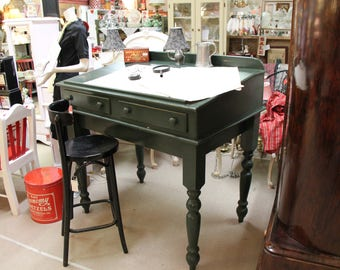 Antique Large Slant Top Drafting Table With 2 Drawers, Desk , Pick Up Only