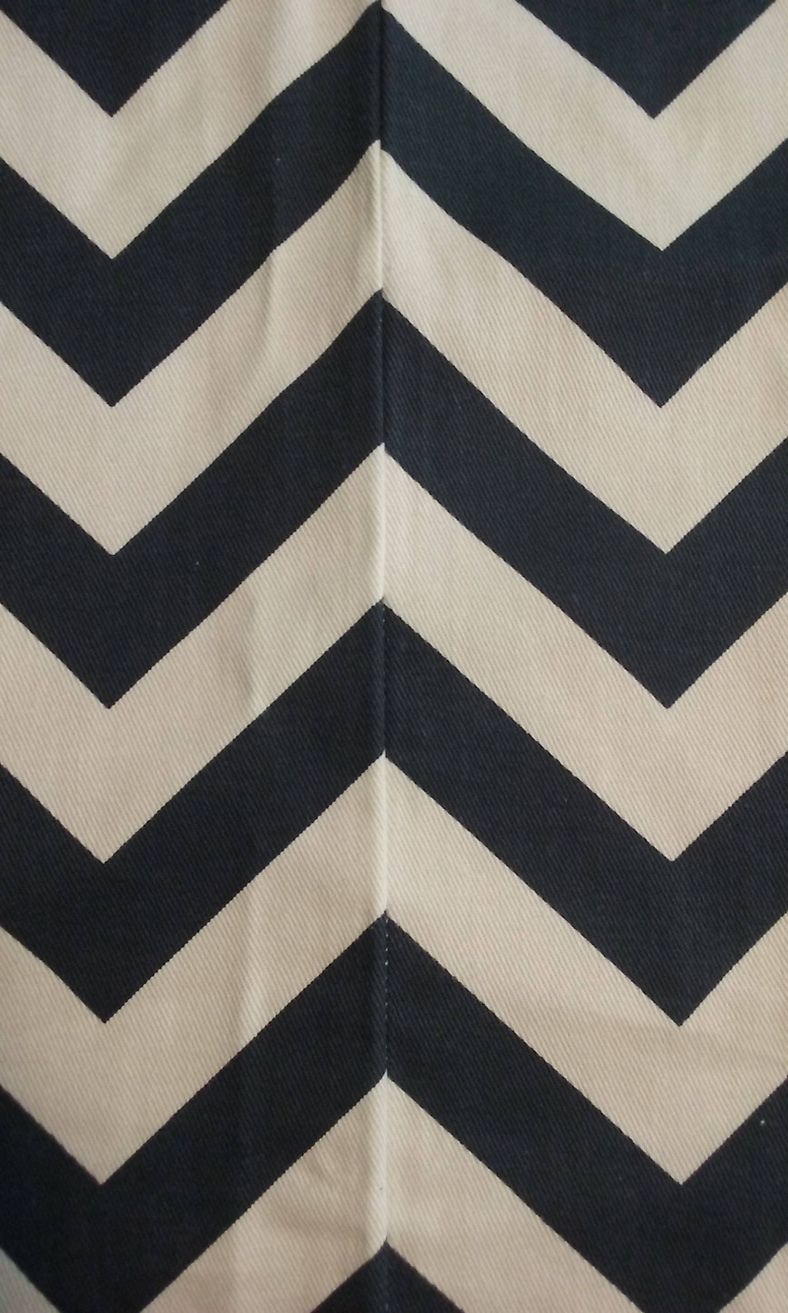 Home decor fabric, navy blue and white chevron, fabric, remnant ...