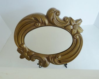 Vintage Chalkware Oval Mirror by Miller Studio/Over 50 years old mid century design/Can be painted to suit