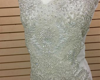 Designer Full body Rhinestone Applique, Beaded Wedding Dress Applique. Swarovski Shine # 81151