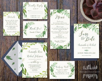 printable greenery wedding invitation suite green wedding invitation set floral garden wedding green wreath invitation leafy wreath invite