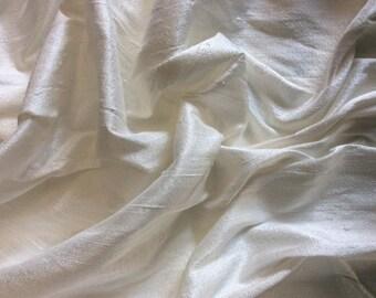 Pure dupion silk fabric, light cream