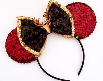 The Hunter - Handmade Gaston Beauty and the Beast inspired Mouse Ears Headband