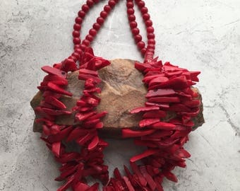 Red Coral Shard Necklace