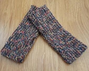 Tweed-Effect Wool Blend Knitted Handwarmers Fingerless Gloves
