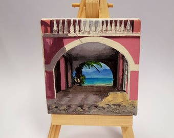 "2.75x2.75"" Beach View in Corfu Miniature Acrylic Painting and Easel"