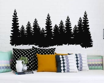 Pine Trees Wall Decal Forest Landscape Nature Vinyl Sticker Merry Christmas Decorations Decals Home Decor Bedroom Nursery Interior NV129
