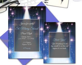 Custom Prom Night Party Invitation, Thank you Cards, Junior Prom, Senior prom, Prom Invite, Invitation Printable, Prom Night Invite; 2000362