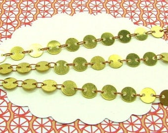 1m raw brass coloured pastille chain 6mm, shackles and pastilles not knitted, jewellery chain, CHB23