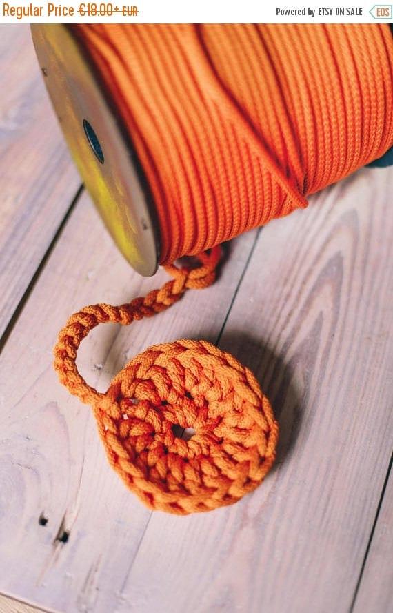 SALE 30 % ORANGE yarn- polyester rope- crochet yarn- crochet rope- Craft projects- orange rope- knitting supplies- craft supplies- polyester