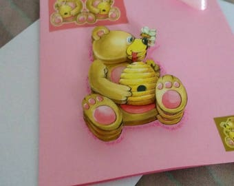 "Card 3D ""bear and his honey"""