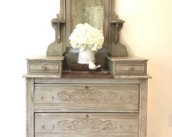Sold---Victorian Dresser, late 1800s Eastlake replica, handpainted gray, home decor, bedroom furniture, distressed, old world patina, antiqu