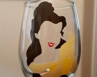 Disney Princess Belle wine glass, Rapunzel, Ariel, Snow White, Sleeping Beauty, Cinderella, other characters by request