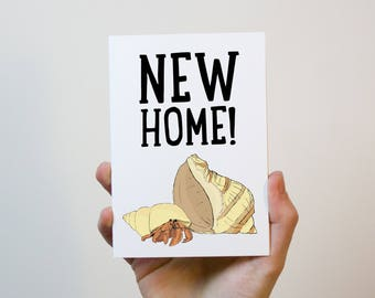 New Home Hermit Crab Card | New Home Card | First Home Card | Moving Out Card | Moving Card | Housewarming Gift | Housewarming Card