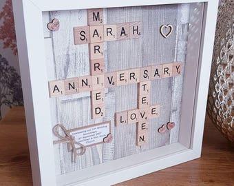 Personalised Scrabble Frames - Anniversary/Wedding/Birthday/Christening/New Baby etc