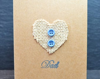 Dad Burlap Blue Button in Brown Card