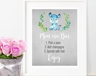 Momosa Bar Sign, Printable Mom-osa Bar Sign, Watercolor Floral Mimosa Bar Sign, Baby Shower Party Decoration, Pink and Gold, Digital Print