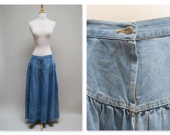 Vintage 80s Denim Skirt ⎮ 1980s Yoked Jean Skirt ⎮  Long Boho Denim Maxi Skirt