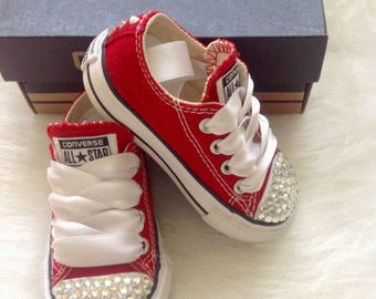 Bling Converse, Red bling converse, Red Converse, Baby, Toddler, Girls, Crystals, Pageant Shoes, Party Shoes, Girls Converse