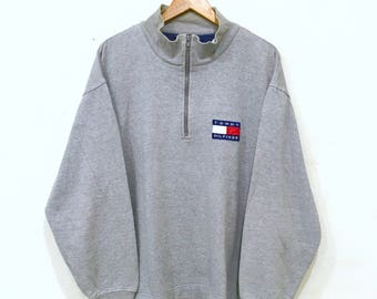 Rare!! Vintage 90's TOMMY Hilfiger Box logo Patch Half Zipper Sweatshirt Grey Colour Pullover Crew Neck Sweater Large Size