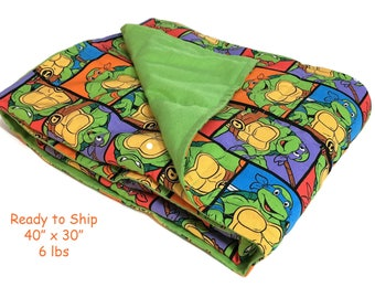 """Weighted Blanket 40"""" x 30"""" / 6 lbs / Ready to Ship / Autism / Sensory Processing Disorder / ADHD / Ninja Turtles/ TMNT / Washable / Child"""
