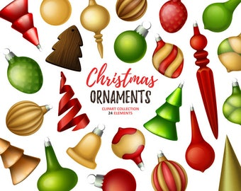 Christmas ornaments clipart. Christmas decoration clip art collection. Holiday clipart. Vector art.